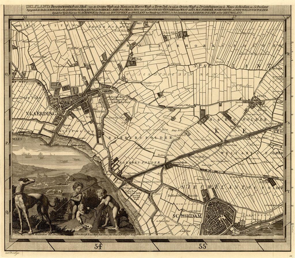 Kaart van de polders rond schiedam